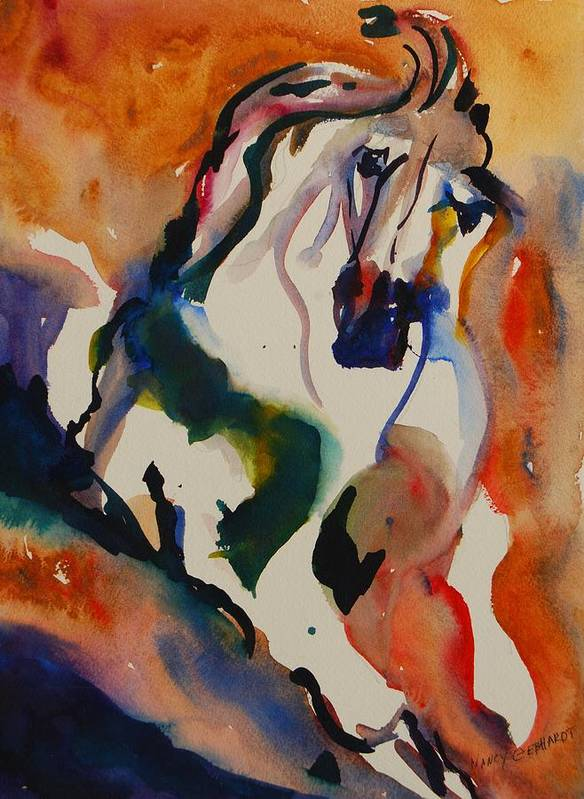 Horse Poster featuring the painting Picasso by Nancy Gebhardt
