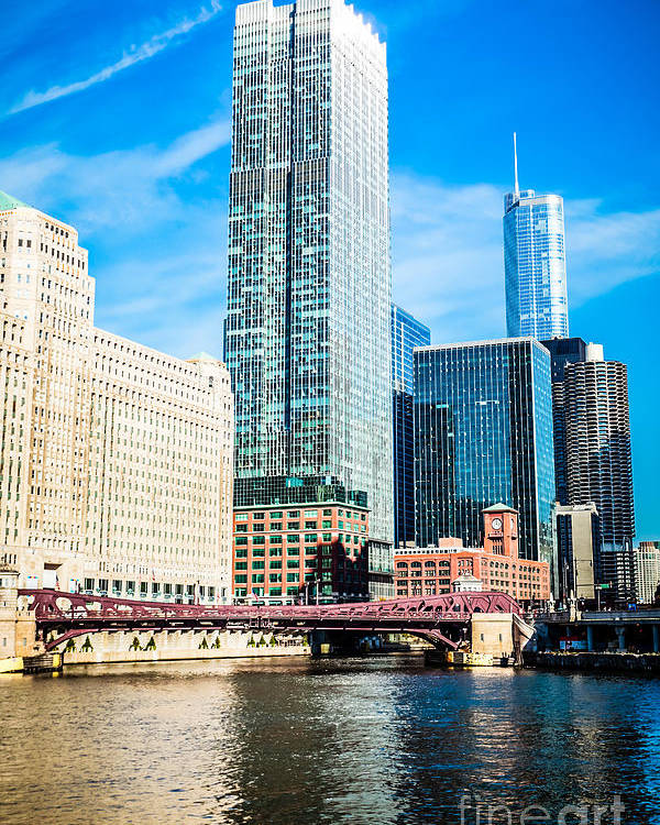 300 North Lasalle Building Poster featuring the photograph Picture Of Chicago River Skyline At Franklin Bridge by Paul Velgos