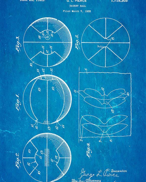 Basket Ball Poster featuring the photograph Pierce Basketball Patent Art 1929 Blueprint by Ian Monk