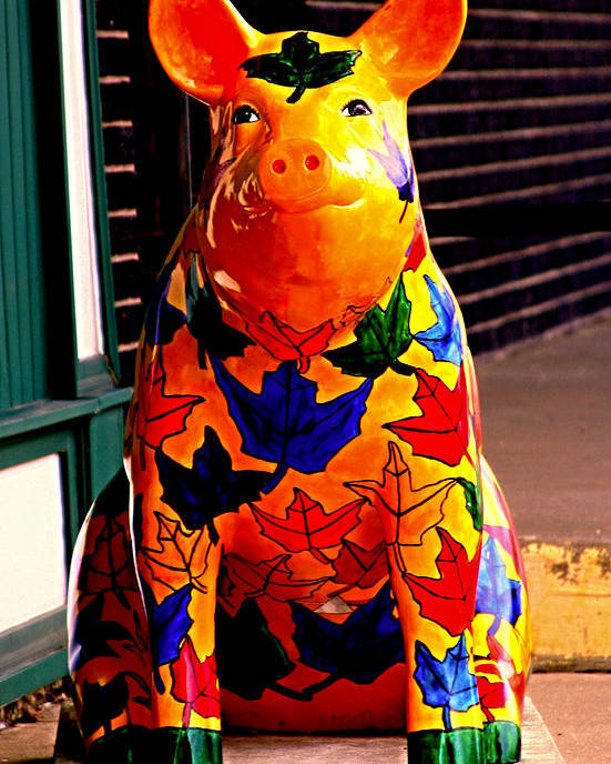 Pig Poster featuring the photograph Pig Art Statuary Leaves by Margaret Newcomb