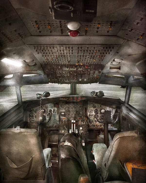 Pilot Poster featuring the photograph Pilot - Boeing 707 - Cockpit - We Need A Pilot Or Two by Mike Savad