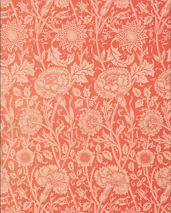 Pattern Poster featuring the tapestry - textile Pink And Rose Wallpaper Design by William Morris