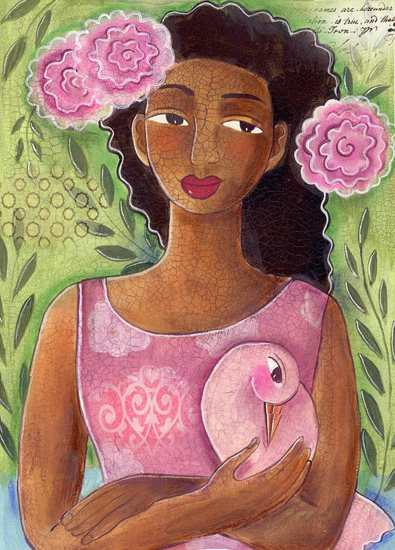 African American Poster featuring the painting Pink Bird by Elaine Jackson