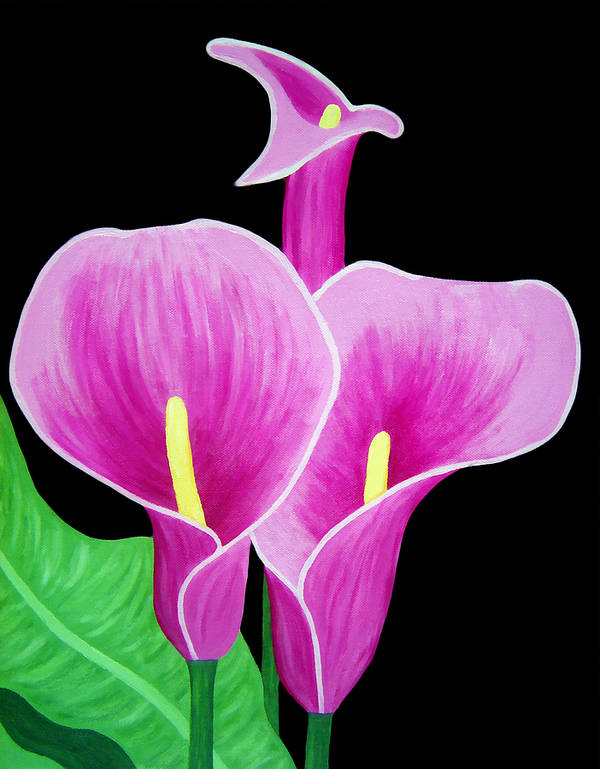 Pink Poster featuring the painting Pink Calla Lillies 2 by Angelina Vick