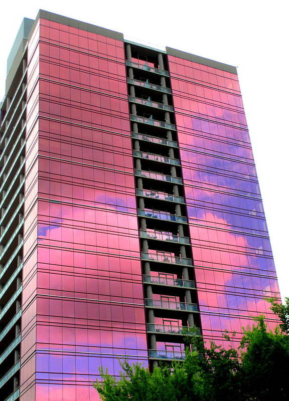 Pink Glass Poster featuring the photograph Pink Glass Buildings Can Be Pretty by Randall Weidner