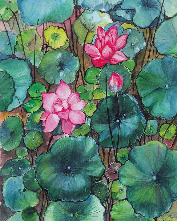 Betty Glanville Poster featuring the painting Pink Lillies by Betty Glanville