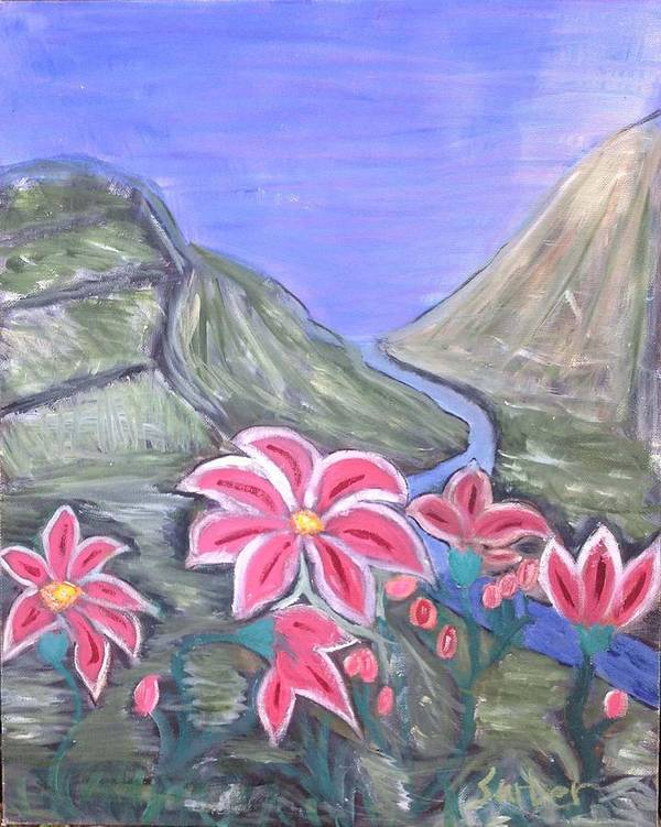 Pink Flowers Poster featuring the painting Pink Lillies by Suzanne Surber