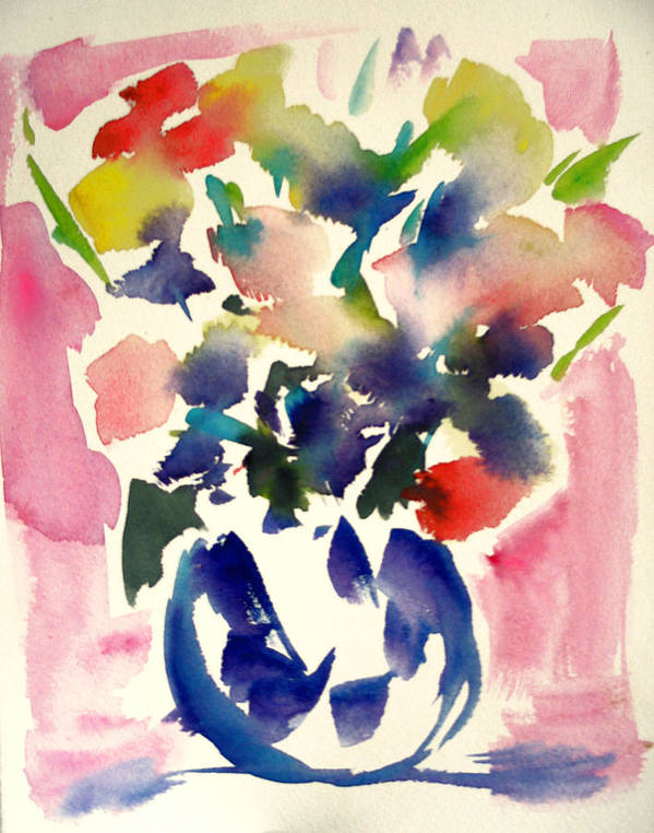 Modern Floral Poster featuring the painting Pink Roses In A Blue Vase by Tolere