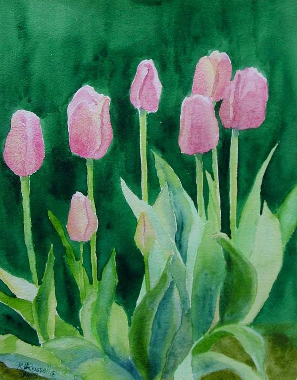 Beautiful Flowers Poster featuring the painting Pink Tulips Colorful Flowers Garden Art Original Watercolor Painting Artist K. Joann Russell by K Joann Russell