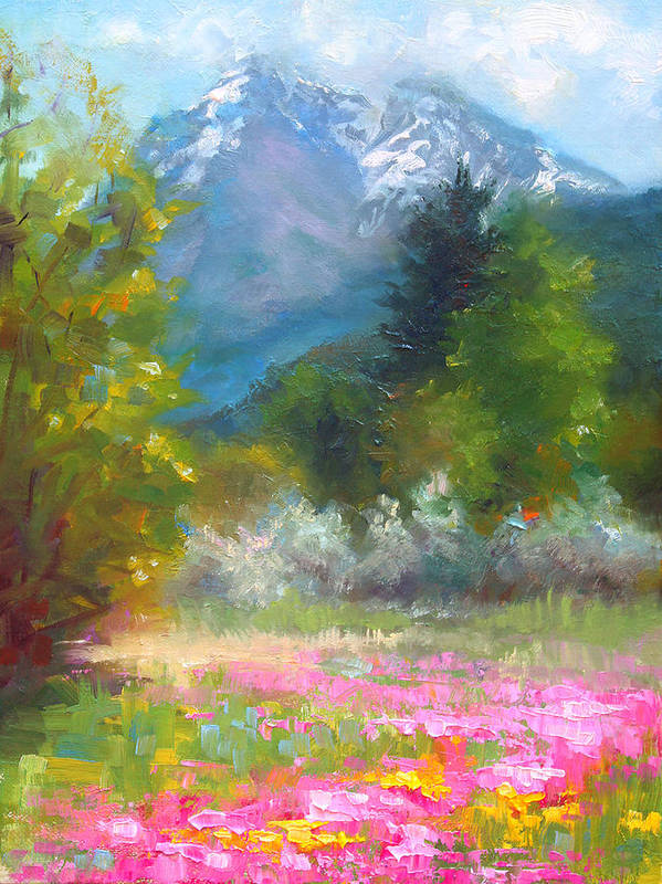 Colorful Poster featuring the painting Pioneer Peaking - Flowers And Mountain In Alaska by Talya Johnson