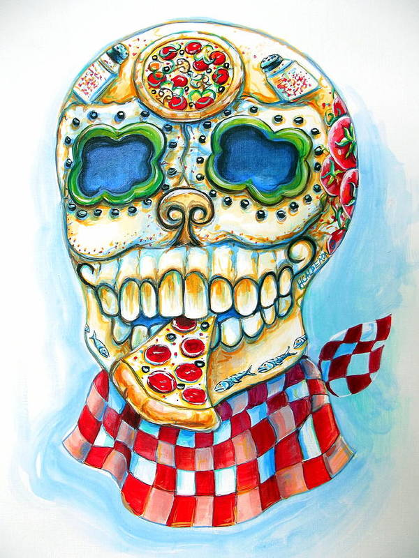 Day Of The Dead Poster featuring the painting Pizza Sugar Skull by Heather Calderon