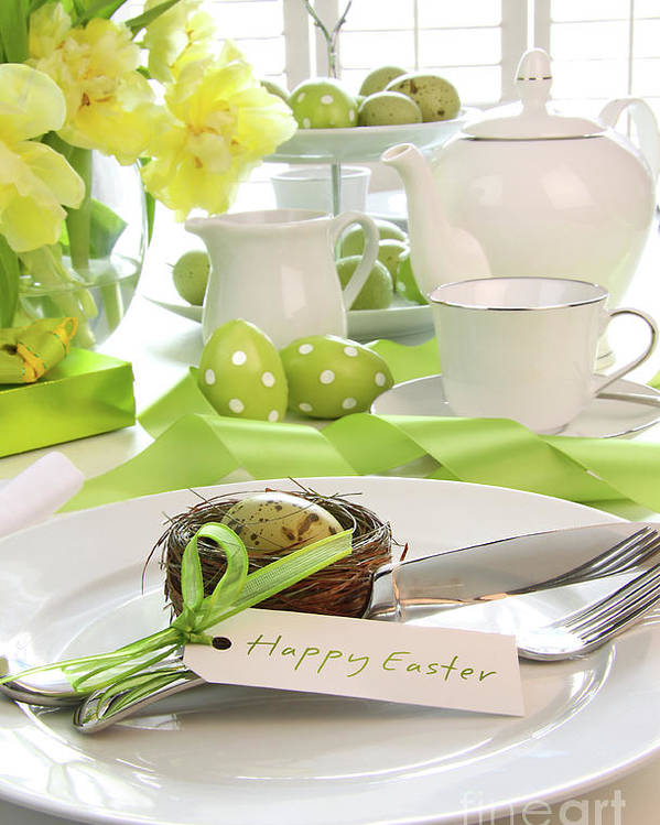 Anniversary Poster featuring the photograph Place Setting With Place Card Set For Easter by Sandra Cunningham
