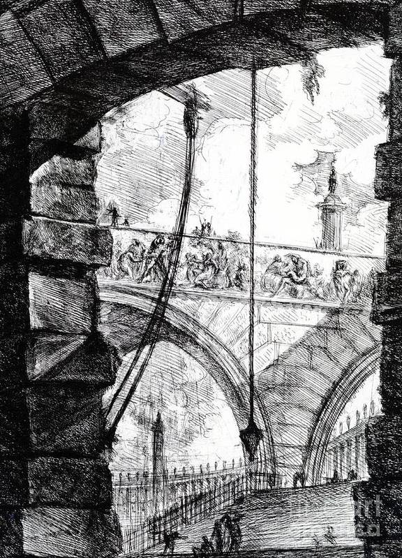 Prison; Archway; Arch; Arches; Frieze; Design; Architecture; Drawing; Sketch; Gaol; Jail; Invented; Imagined Poster featuring the drawing Plate 4 From The Carceri Series by Giovanni Battista Piranesi