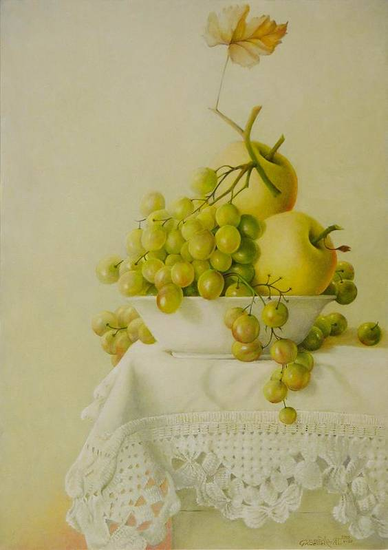 Giuseppe Mariotti Poster featuring the painting Plate with Fruit by Giuseppe Mariotti