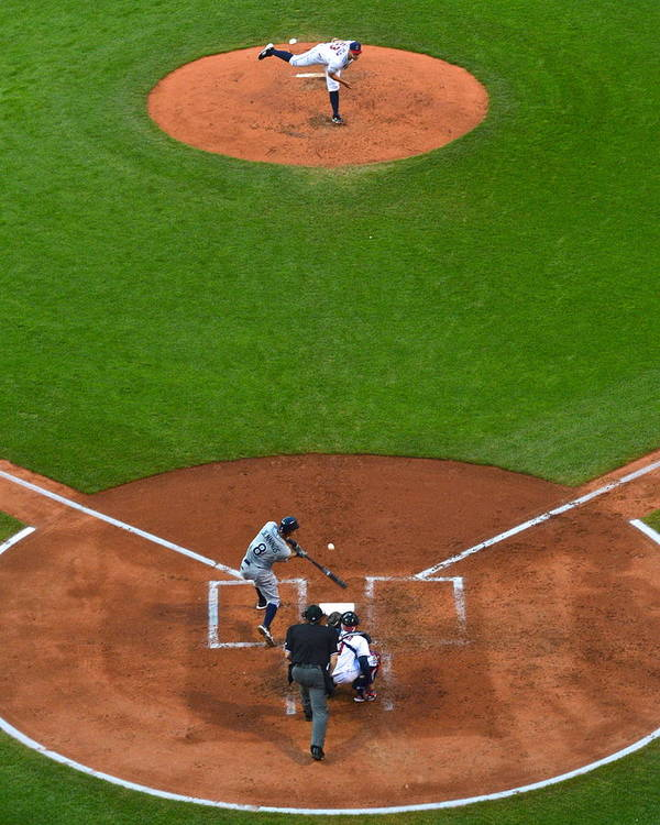 Cleveland Poster featuring the photograph Play Ball by Frozen in Time Fine Art Photography