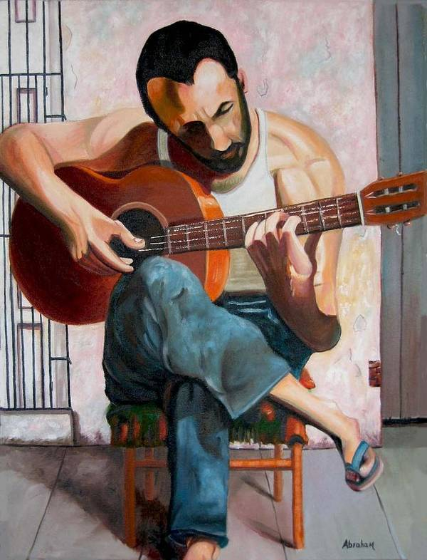 Men.guitar Poster featuring the painting Playing by Jose Manuel Abraham
