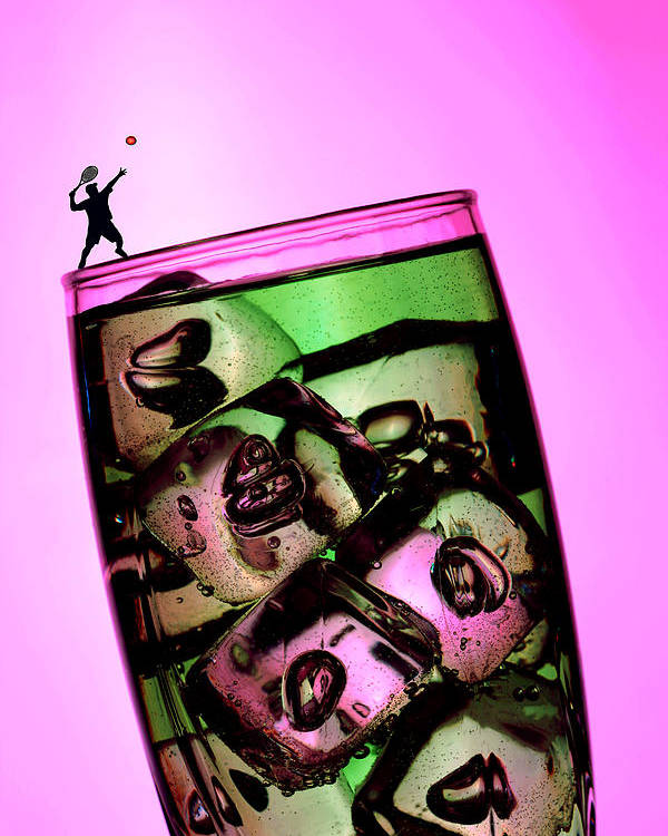 Wine Poster featuring the photograph Playing Tennis On A Cup Of Lemonade Little People On Food by Paul Ge