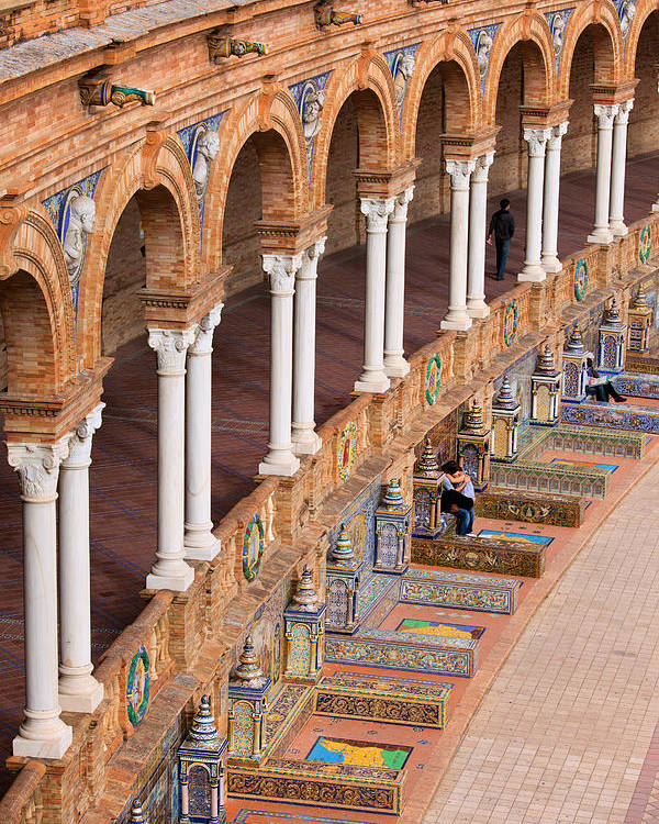 Plaza Poster featuring the photograph Plaza De Espana Colonnade In Seville by Artur Bogacki