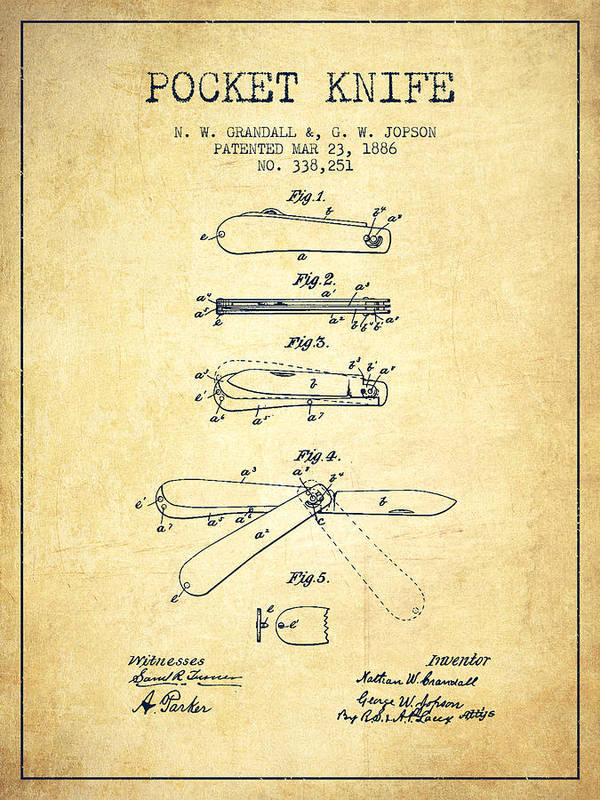 Pocket Knife Patent Drawing From 1886 Vintage Poster By