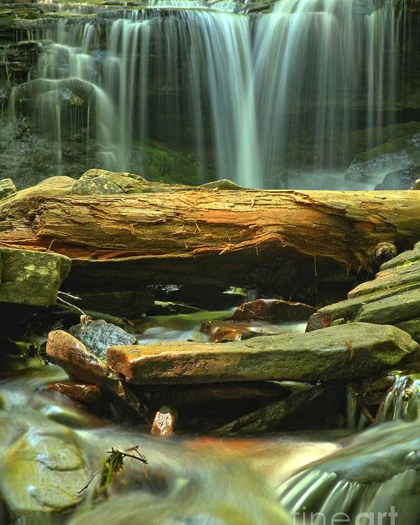 Ricketts Glen Waterfalls Poster featuring the photograph Poconos Cascades by Adam Jewell