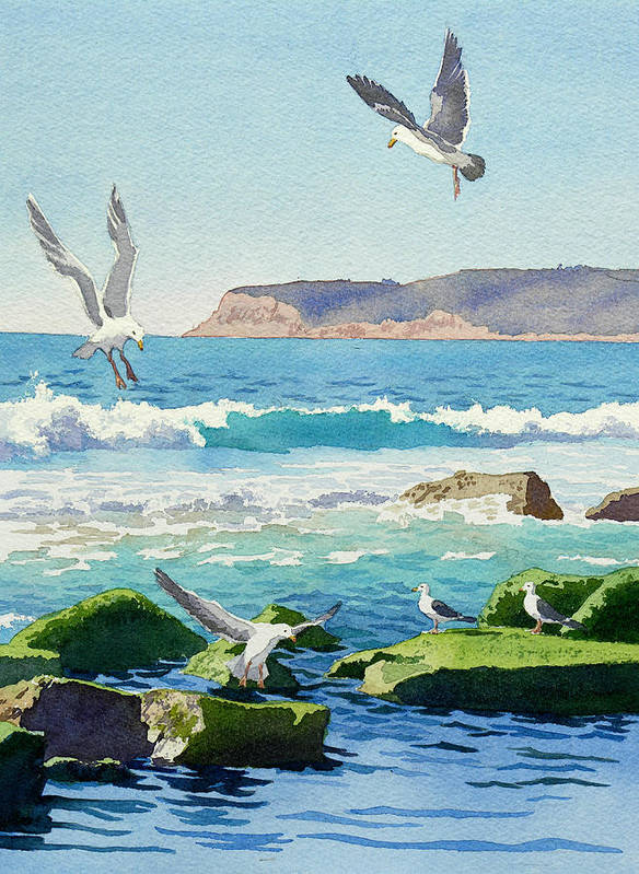 Point Loma Poster featuring the painting Point Loma Rocks Waves And Seagulls by Mary Helmreich