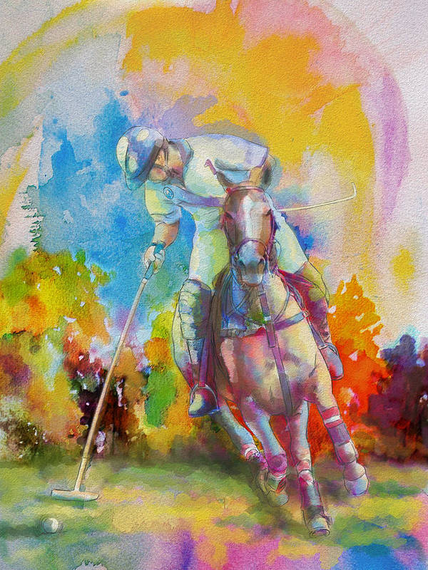 Sports Poster featuring the painting Polo Art by Catf