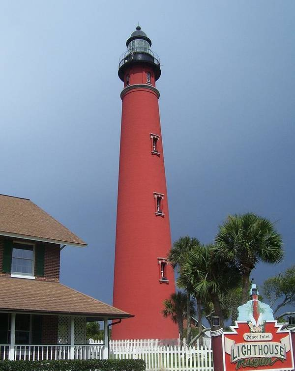 Ponce De Leon Inlet Light Poster featuring the photograph Ponce De Leon Inlet Light 3 by Cathy Lindsey