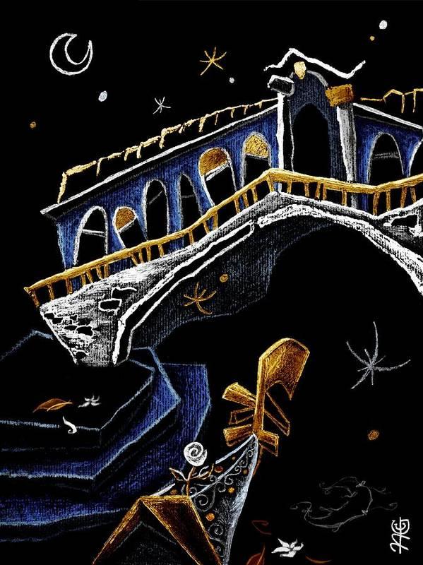 Rialto Poster featuring the drawing Ponte Di Rialto - Grand Canal Venise Gondola Illustration by Arte Venezia