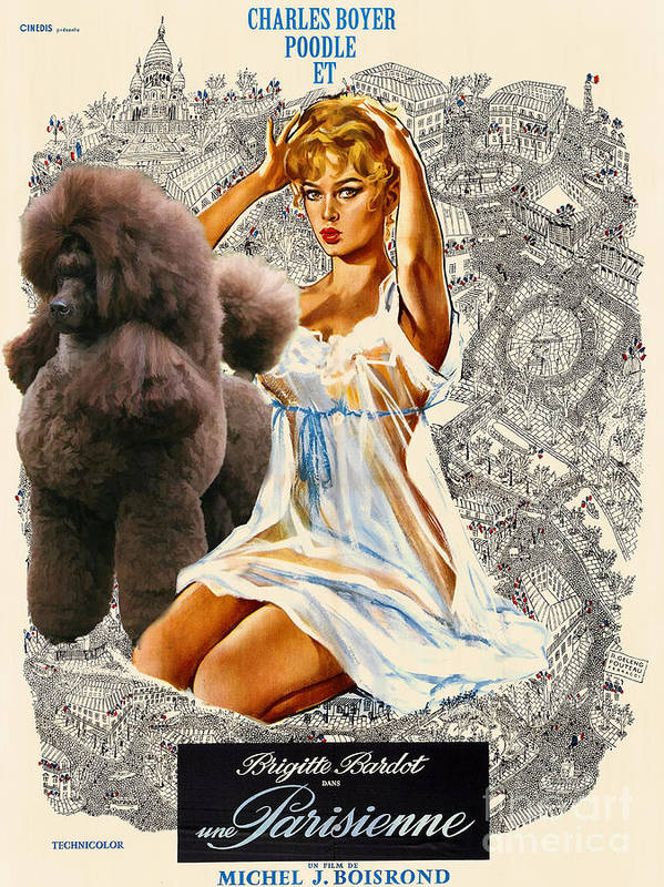 Dog Poster featuring the painting Poodle Art - Una Parisienne Movie Poster by Sandra Sij