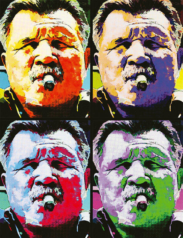 Mike Ditka Poster featuring the painting Pop Ditka by John Farr