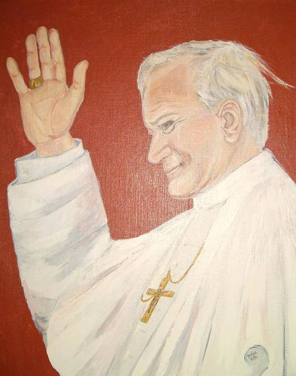 Original Portrait Of Pope John Paul Ii Painted With Acrylic On Canvas Board. The Background Is Deep Red Poster featuring the painting Pope Johnpaul II by Desline Vitto