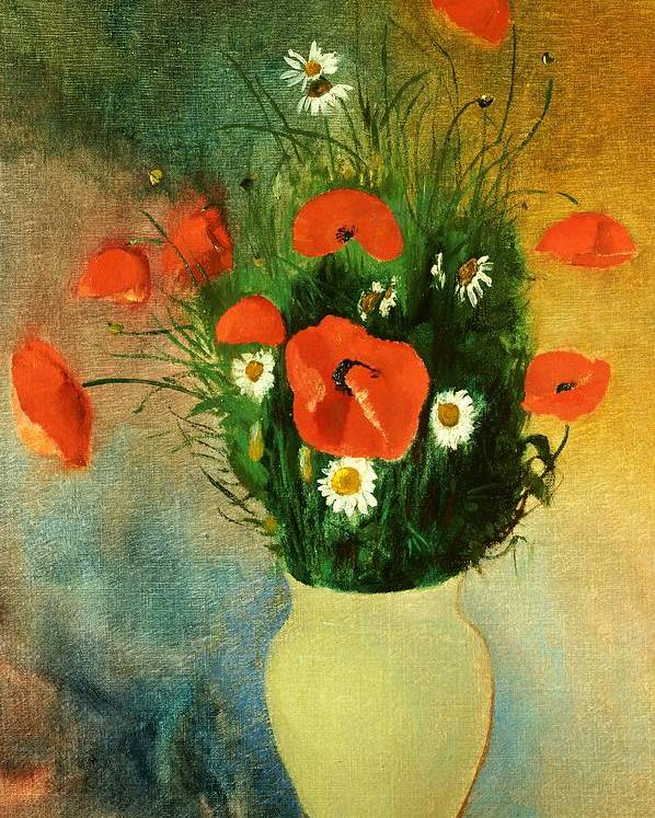 Flowers; Poppy; Daisy; Vase; Arrangement Poster featuring the painting Poppies And Daisies by Odilon Redon