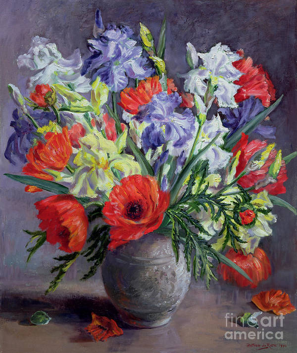 Still Lives Of Flowers Poster featuring the painting Poppies And Irises by Anthea Durose