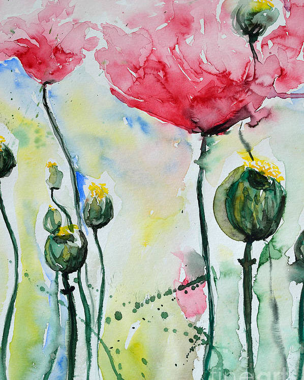 Poppy Poster featuring the painting Poppies by Ismeta Gruenwald