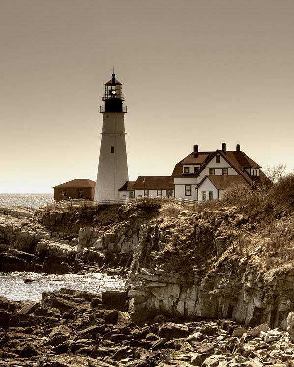 Atlantic Ocean Poster featuring the photograph Portland Head Lighthouse by Joann Vitali