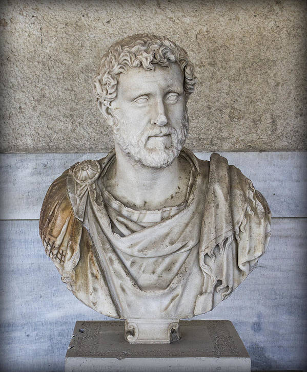 Bust Poster featuring the photograph Portrait Bust Of The Emperor Antoninus Plus by Radoslav Nedelchev