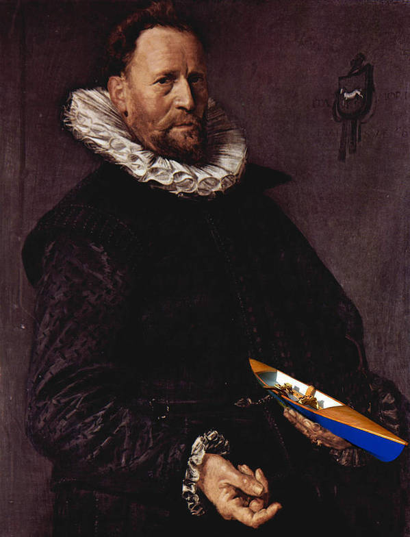 Art Errors Poster featuring the digital art Portrait Of A Man Holding A Skull 1612 by Frans Hals