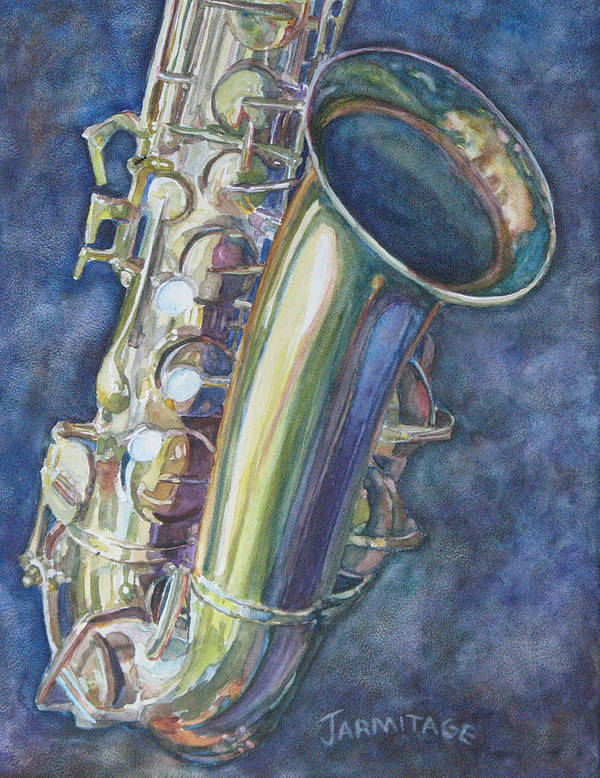 Sax Poster featuring the painting Portrait Of A Sax by Jenny Armitage