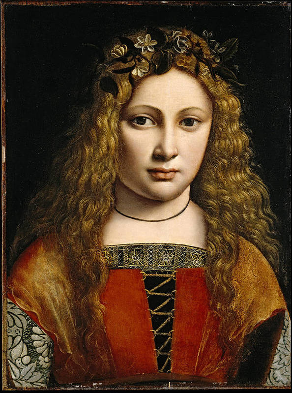 Giovanni Antonio Boltraffio Poster featuring the painting Portrait Of A Youth Crowned With Flowers by Giovanni Antonio Boltraffio