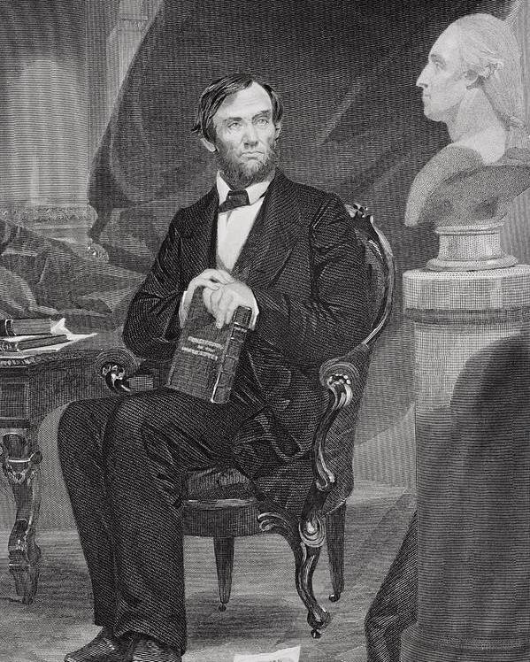 Male Poster featuring the painting Portrait Of Abraham Lincoln by Alonzo Chappel