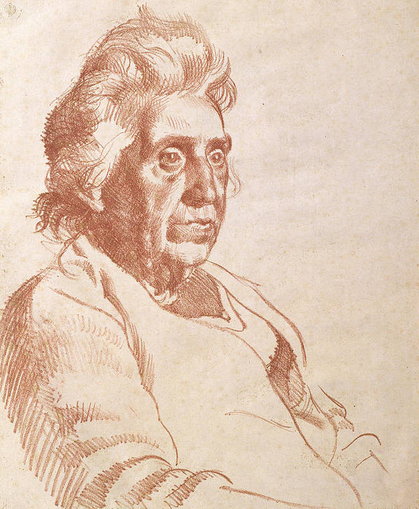 Print Poster featuring the drawing Portrait Of An Old Lady, 1938 by Osmund Caine