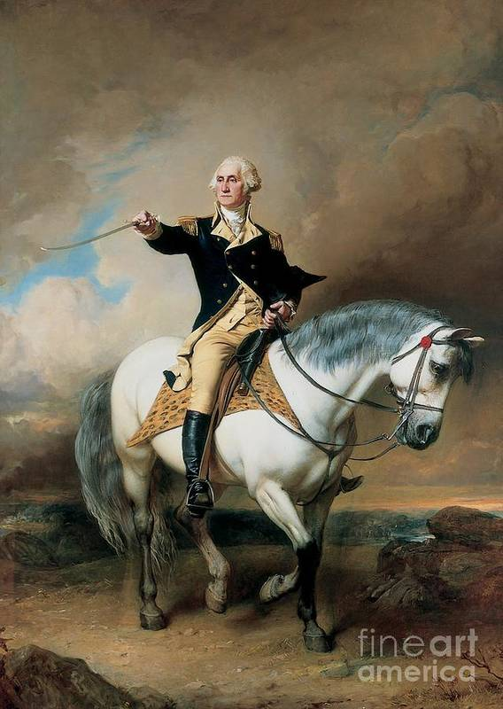Portrait; War; Full Length; Equestrian; Salute; Saluting; Trenton; History; Historical; Heroic; Horse; Mounted; Horseback; Riding; Commander; Independence; President; Politician; Statesman; Us; Usa; United States; America; American; Leader; George Washington; Landscape; Sword; Uniform; Uniformed; Dramatic; Leadership; Strength; Power; 18th Poster featuring the painting Portrait Of George Washington Taking The Salute At Trenton by John Faed