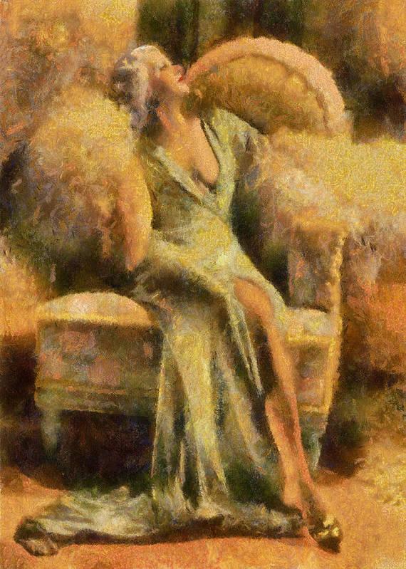 Portrait Poster featuring the digital art Portrait Of Jean Harlow by Charmaine Zoe