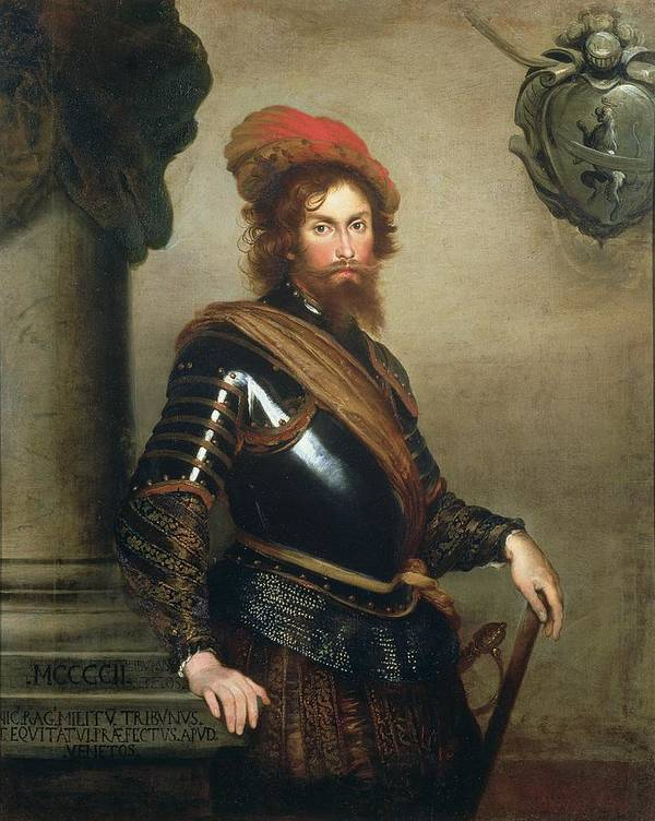 Soldier Poster featuring the painting Portrait Of Nicolo Raggi by Bernardo Strozzi