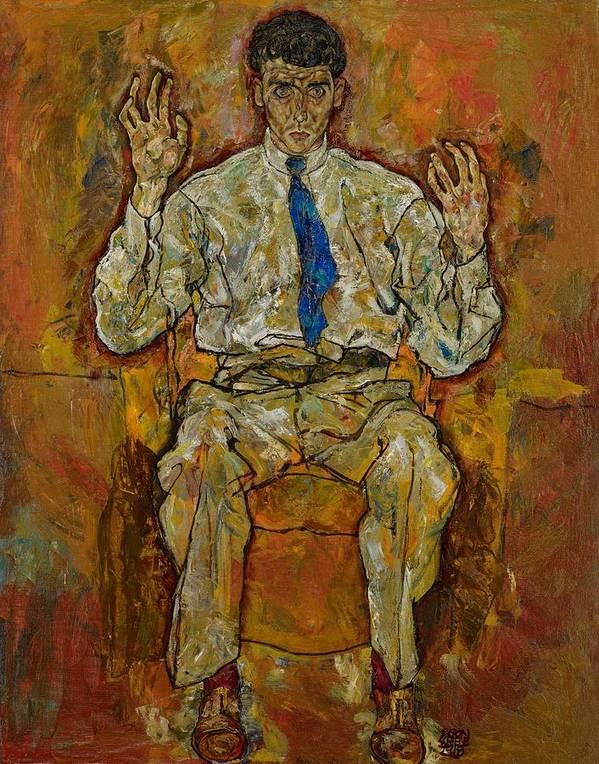 Portrait; Male; Seated; Full-length; Painting; Expressionist; Expressionistic; Expressionism; Tie; Creative; Paris Von G�tersloh; Von Gutersloh; Man; Psychological; Intense; Intensity; Egon Poster featuring the painting Portrait Of Paris Von Gutersloh by Egon Schiele