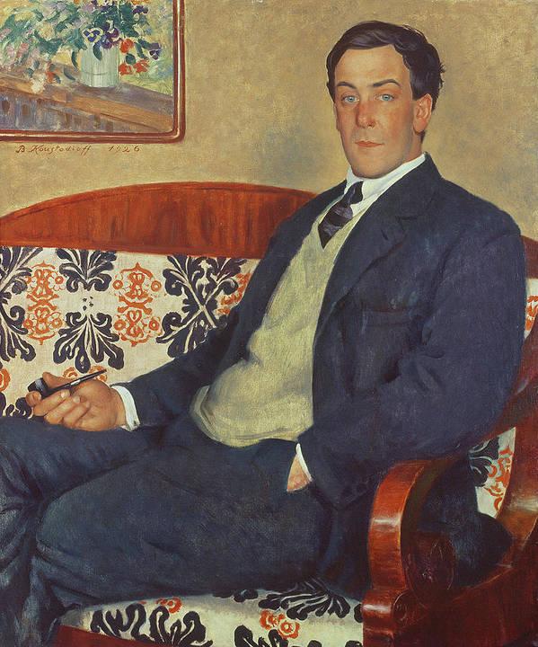 Piotr Leonidovich Poster featuring the painting Portrait Of Peter Kapitza 1926 by Boris Mihajlovic Kustodiev