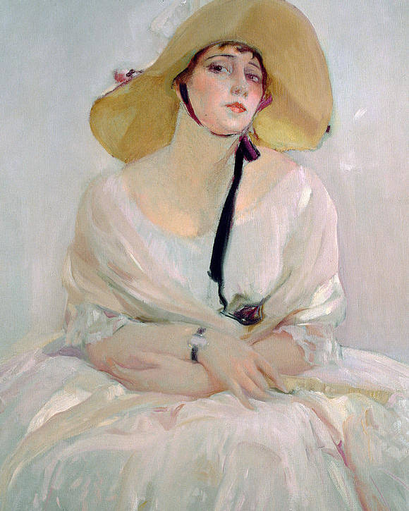 Straw; Bonnet; Hat; White; Dress; Female; Young Woman; Disdain Poster featuring the painting Portrait Of Raquel Meller by Joaquin Sorolla y Bastida
