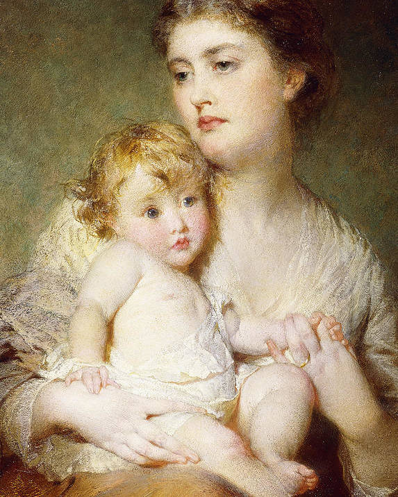 Affection Poster featuring the painting Portrait Of The Duchess Of St Albans With Her Son by George Elgar Hicks