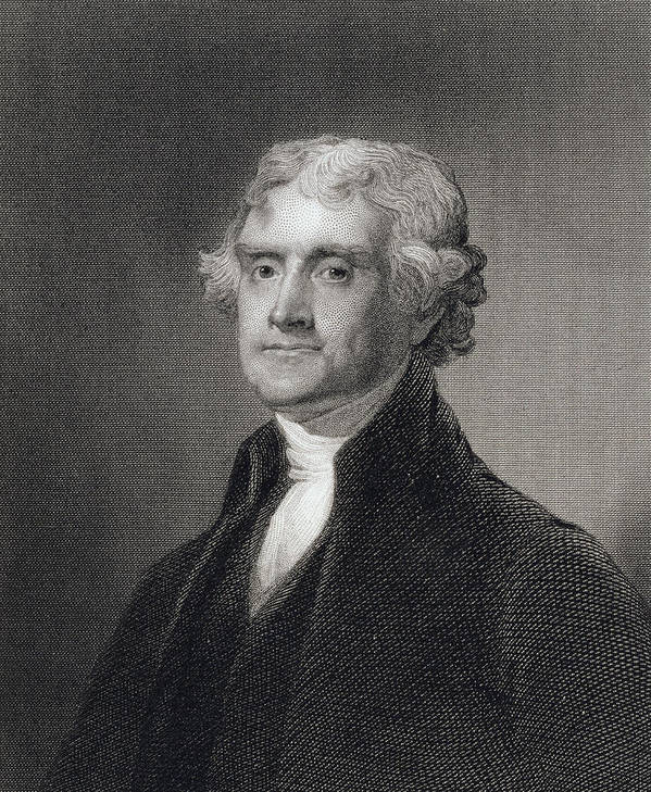 Thomas Jefferson Poster featuring the drawing Portrait Of Thomas Jefferson by Henry Bryan Hall