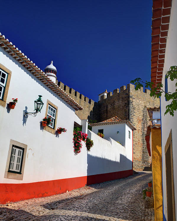 Abstract Poster featuring the photograph Portugal, Obidos, Street Of The Old by Terry Eggers